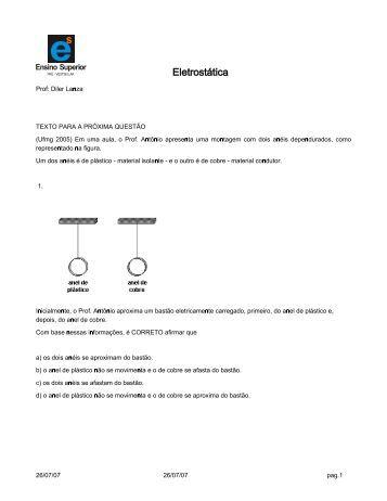 Exercícios de Eletrostática 3º Ano