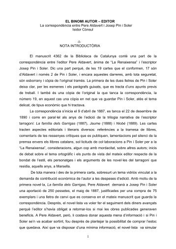 El binomi autor-editor. La correspondència entre Pere - Isidor Cònsul