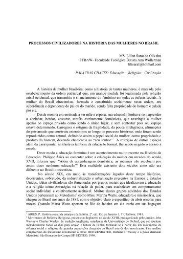 Processos civilizadores na história das mulheres no Brasil