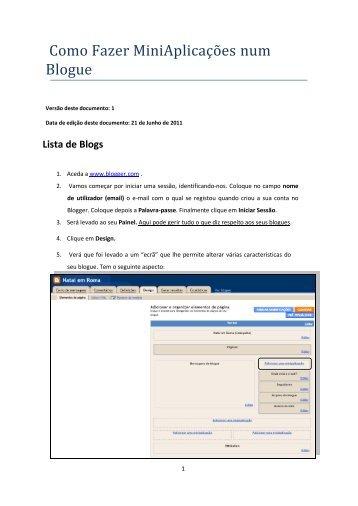 Como Fazer MiniAplicações num Blogue