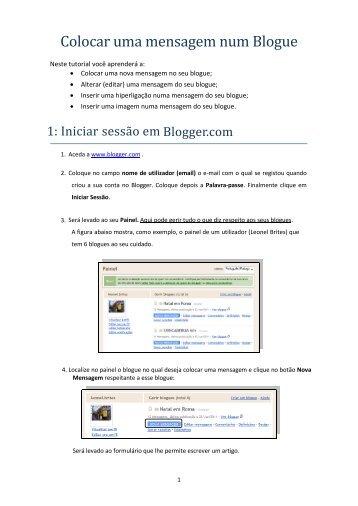 Colocar uma mensagem num Blogue
