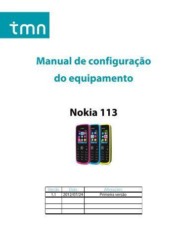 Manual de configuração do equipamento Nokia 113 - TMN