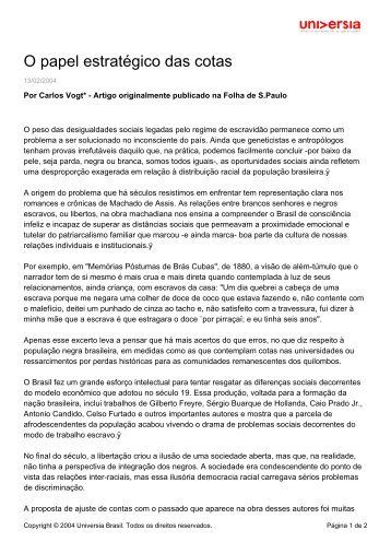 O papel estratégico das cotas - Universia - Universia Brasil