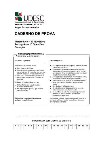 Prova de Matemática, Português e Redação - Udesc
