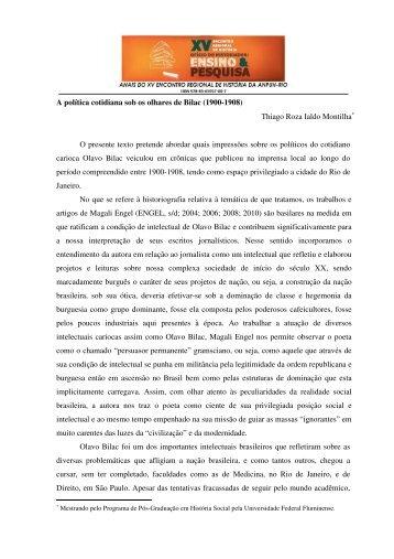 A política cotidiana sob os olhares de Bilac (1900-1908) Thiago ...