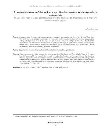 A ordem social de Apeú Salvador/Pará e a problemática do ...