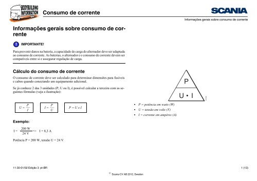 Consumo de corrente Informações gerais sobre consumo ... - Scania