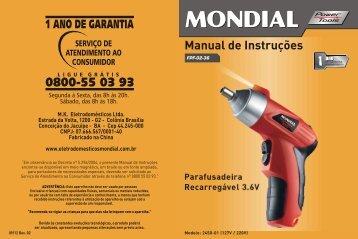 Manual_Parafusadeira Recarregável 3.6V FPF-02 09-12 ... - Mondial