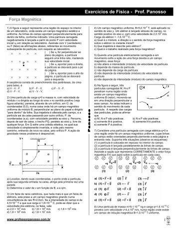 Exercícios de Física - Prof. Panosso - Professor Panosso