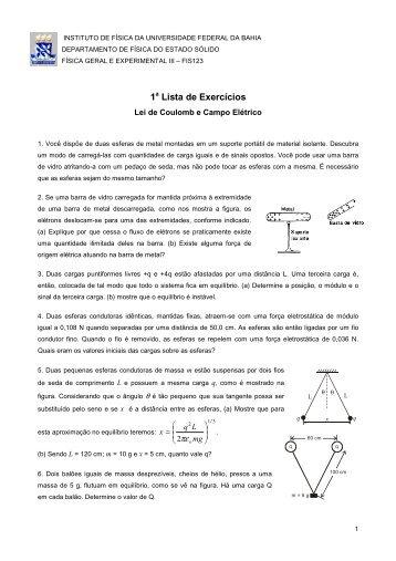 1 Lista de Exercícios - Instituto de Física da UFBA - Universidade ...