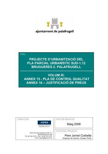 Pla Control Qualitat i Annex - Ajuntament de Palafrugell