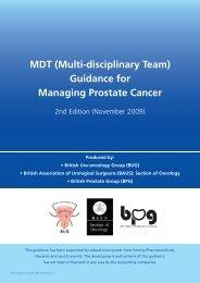 MDT (multi-disciplinary team) guidance for managing prostate cancer