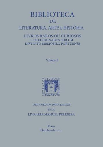 Catálogo de Literatura, Arte e História - VOL.I - Manuel Ferreira