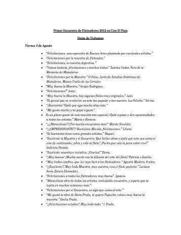 Libro de visitas del 1º Encuentro de Fileteadores - Museos de ...