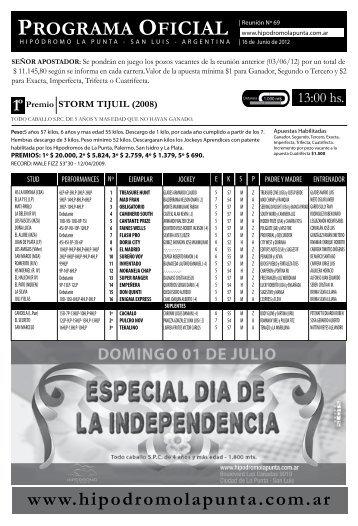 programa 16 junio - Hipodromo La Punta