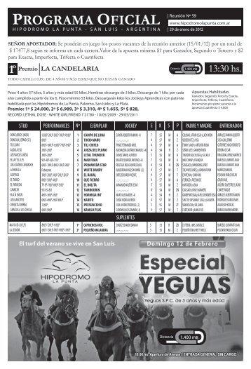PROGRAMA OFICIAL - Hipodromo La Punta