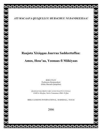 Amos, Hose'aa, Yoonaas fi Miikiyaas - Free Bible Commentary