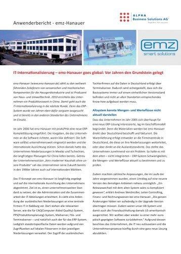 Anwenderbericht - emz-Hanauer - ALPHA Business Solutions AG