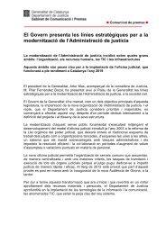 Nota informativa línies estratègiques - Premsa - Generalitat de ...