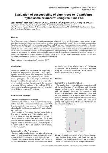Evaluation of susceptibility of plum-trees to 'Candidatus ...