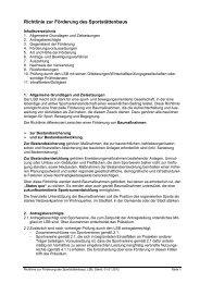 Richtlinie zur Förderung des Sportstättenbaus