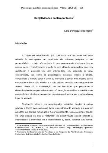 Subjetividades contemporâneas - UFES - Universidade Federal do ...