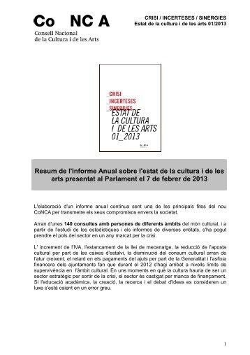 resum informe anual de la cultura 2012 - CoNCA Consell Nacional ...