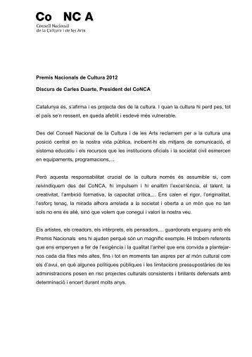 Discurs del Sr. Carles Duarte - CoNCA Consell Nacional de la ...