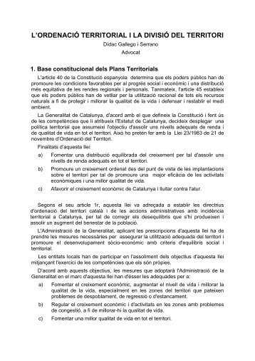 L'ordenació territorial i la divisió del territori, Dídac Gallego - Inici