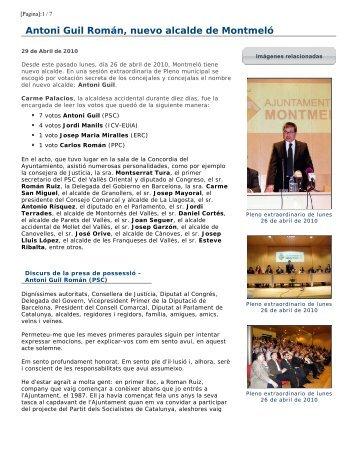 Antoni Guil Román, nuevo alcalde de Montmeló - Ajuntament de ...
