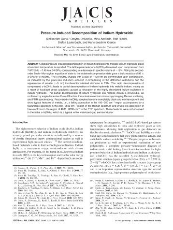 Pressure-Induced Decomposition of Indium Hydroxide