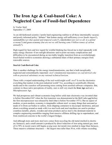 The Iron Age & Coal-based Coke: A Neglected Case of Fossil-fuel Dependence