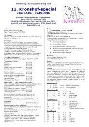 Einladung und Ausschreibung zum 11. Kronshof-special