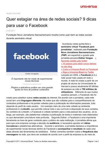 Quer estagiar na área de redes sociais? 9 dicas para usar o Facebook