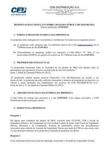 PERGUNTAS E RESPOSTAS P&D 2012 - CEB