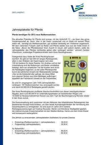 Jahresplakette für Pferde - Kreis Recklinghausen