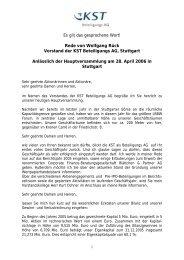 Rede von Herrn Wolfgang Rück (Vorstand) - KST Beteiligungs AG