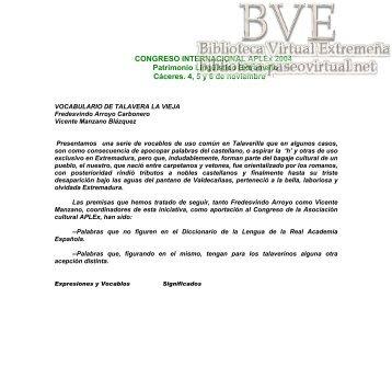 Diccionario de Talavera la Vieja (Cáceres) - Paseo Virtual por ...