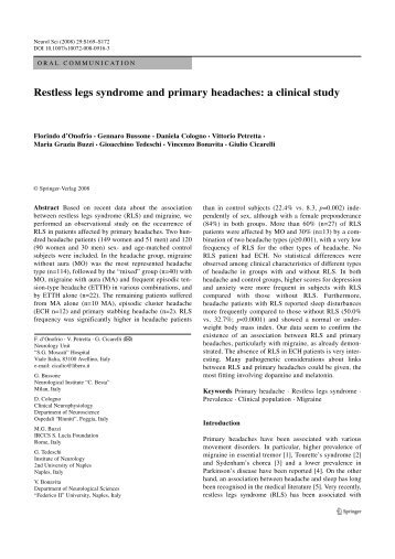 Restless legs syndrome and primary headaches: a clinical study
