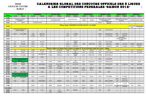 Concours Calendrier.Calendrier Global Des Concours Officiels Des 8 Ligues Et