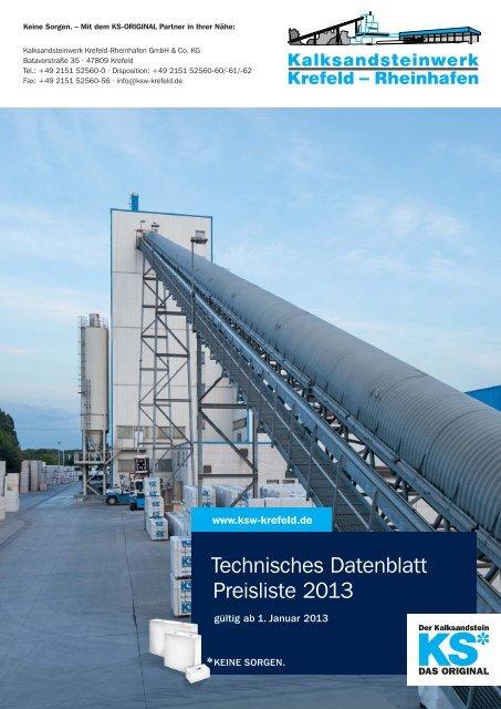 Technisches Datenblatt Preisliste 2013 - KSW Krefeld-Rheinhafen