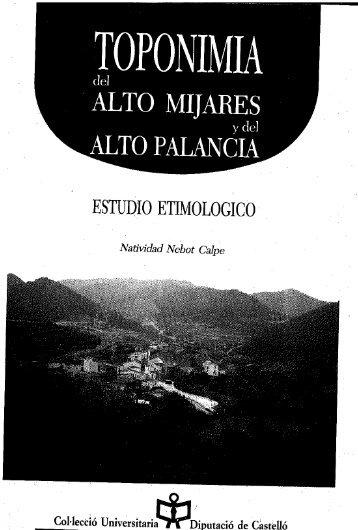 Toponimia del Alto Mijares y del Alto Palancia