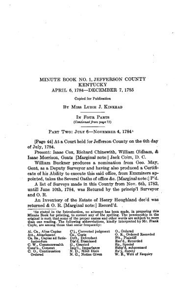 Minute Book No. 1, Jefferson Count, Kentucky, 1784 - The Filson ...