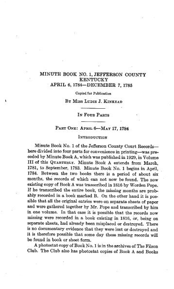 Minute Book No. 1, Jefferson County, Kentucky, 1784 - The Filson ...