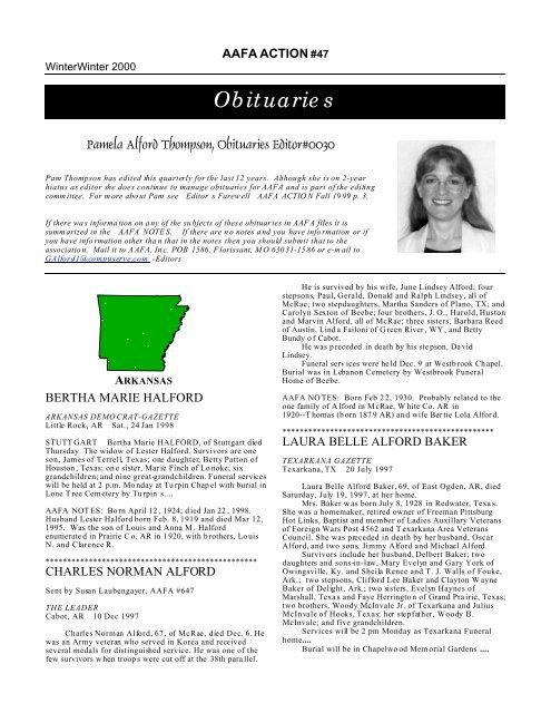 Obituaries -- AR, GA & SC - Alford American Family Association