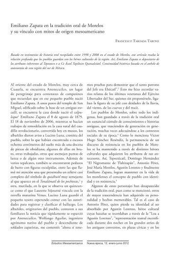 Emiliano Zapata en la tradición oral de Morelos y su ... - Inicio - UNAM