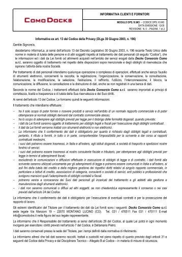 DPS10MO Informativa clienti-fornitori - legge privacy - privacy directive