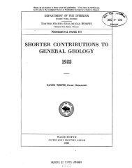 SHORTER CONTRIBUTIONS TO GENER.AL GEOLOGY