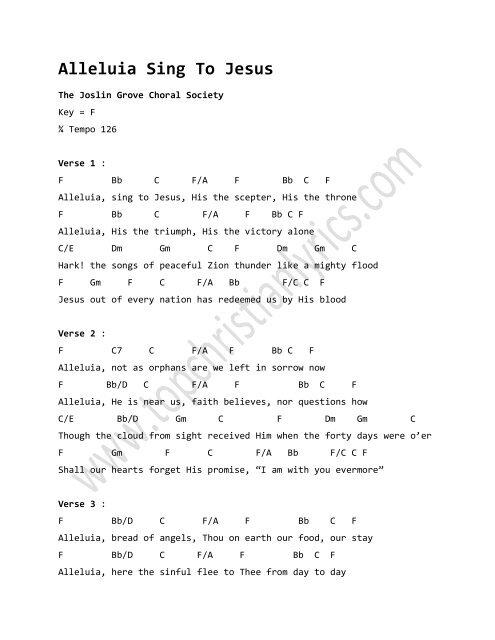 Alleluia Sing To Jesus chords - Christian Lyrics