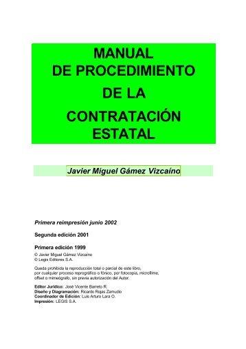MANUAL DE PROCEDIMIENTO DE LA CONTRATACIÓN ESTATAL